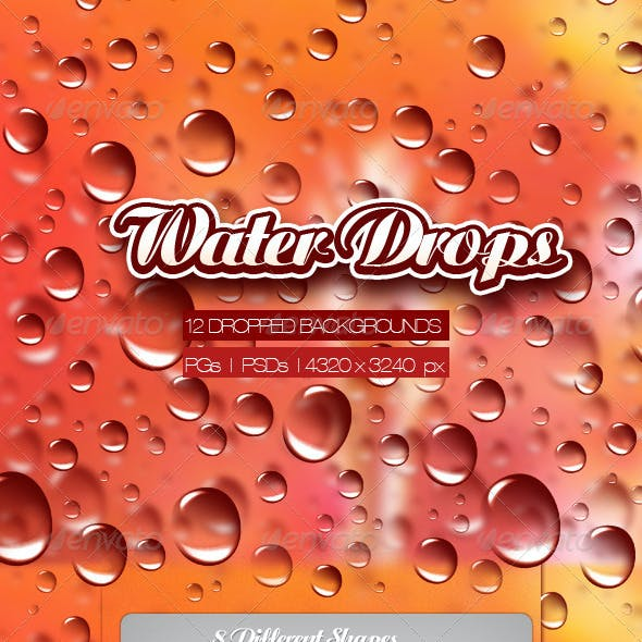 12 Water Drops + Backgrounds