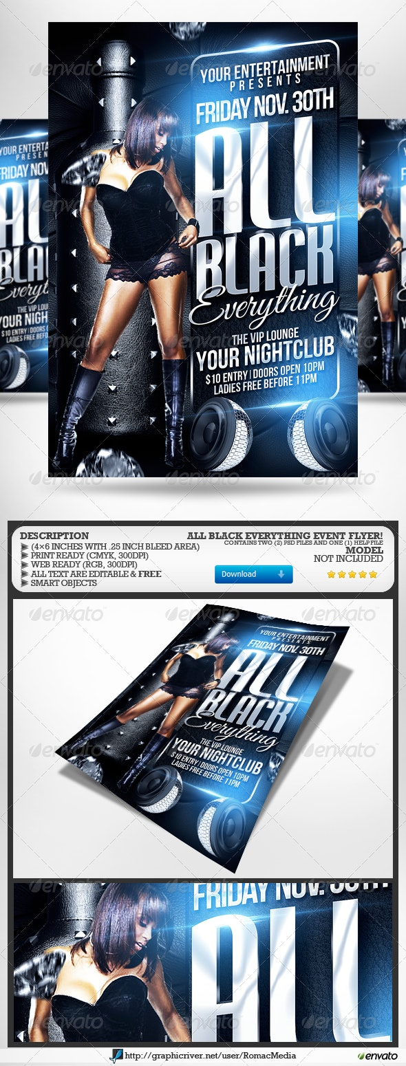 All Black Everything Party Flyer - Clubs & Parties Events