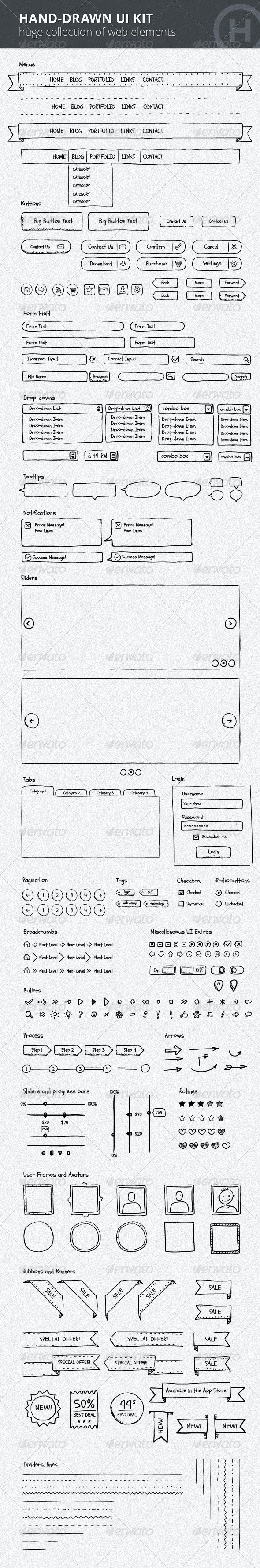Hand-Drawn UI Kit - User Interfaces Web Elements