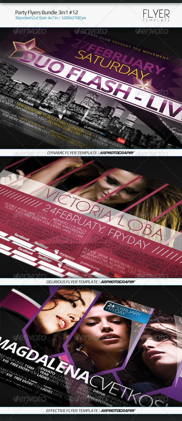 Party Flyers Bundle 3in1 #12 - Flyers Print Templates