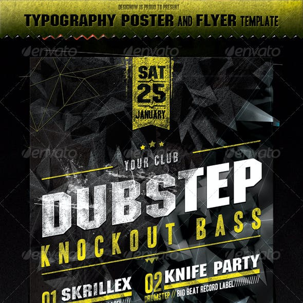 Music Knockout Bass Flyer and Poster Template