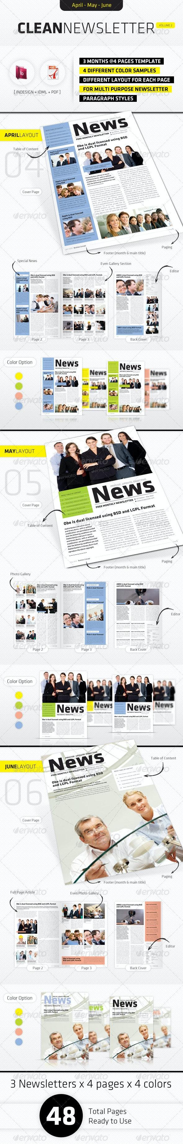 April - June Clean Newsletter V2 - Newsletters Print Templates