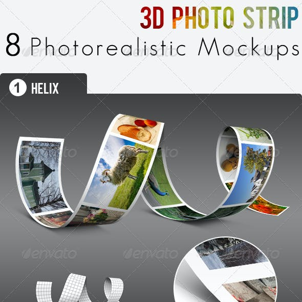 3D Photo Strip - Photorealistic Mockups