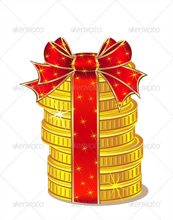 Stack of Gold Coins with Ribbon and Bow - Business Conceptual