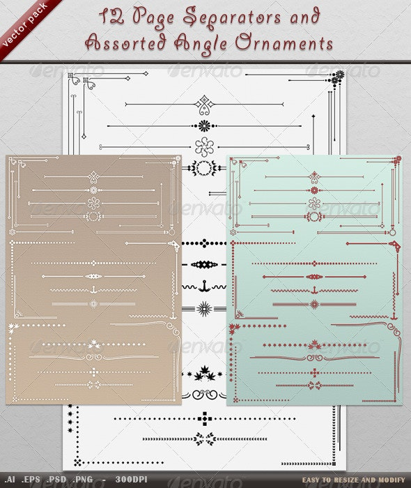 12 Page Dividers and Angle Ornaments - Flourishes / Swirls Decorative