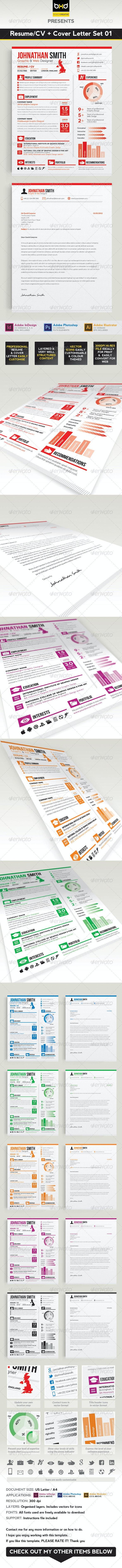 Resume / CV + Cover Letter Set 01 - Resumes Stationery