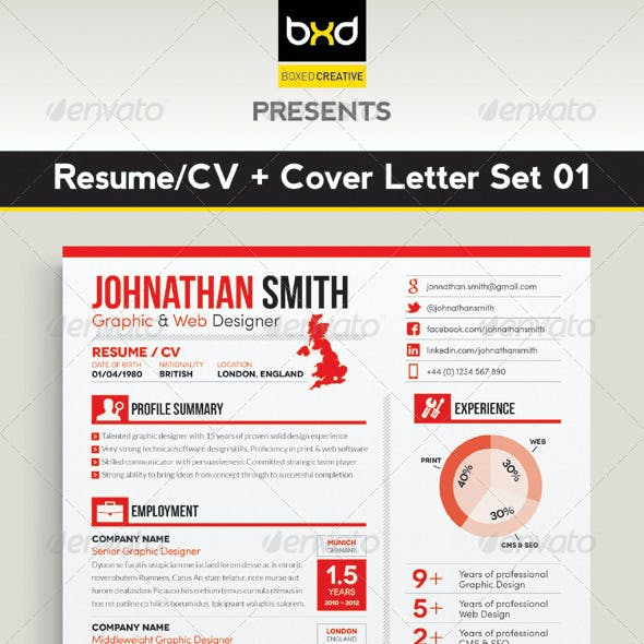 Resume / CV + Cover Letter Set 01