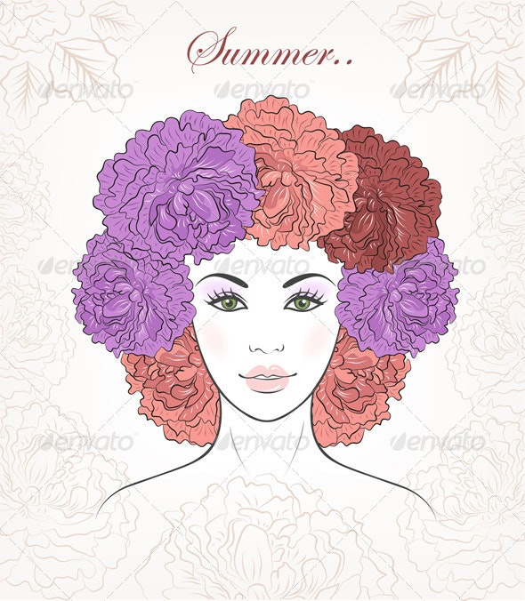 Romantic Girl With Floral Peonies Hair - People Characters