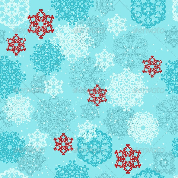 Vector Seamless pattern with  Snowflakes - Patterns Decorative