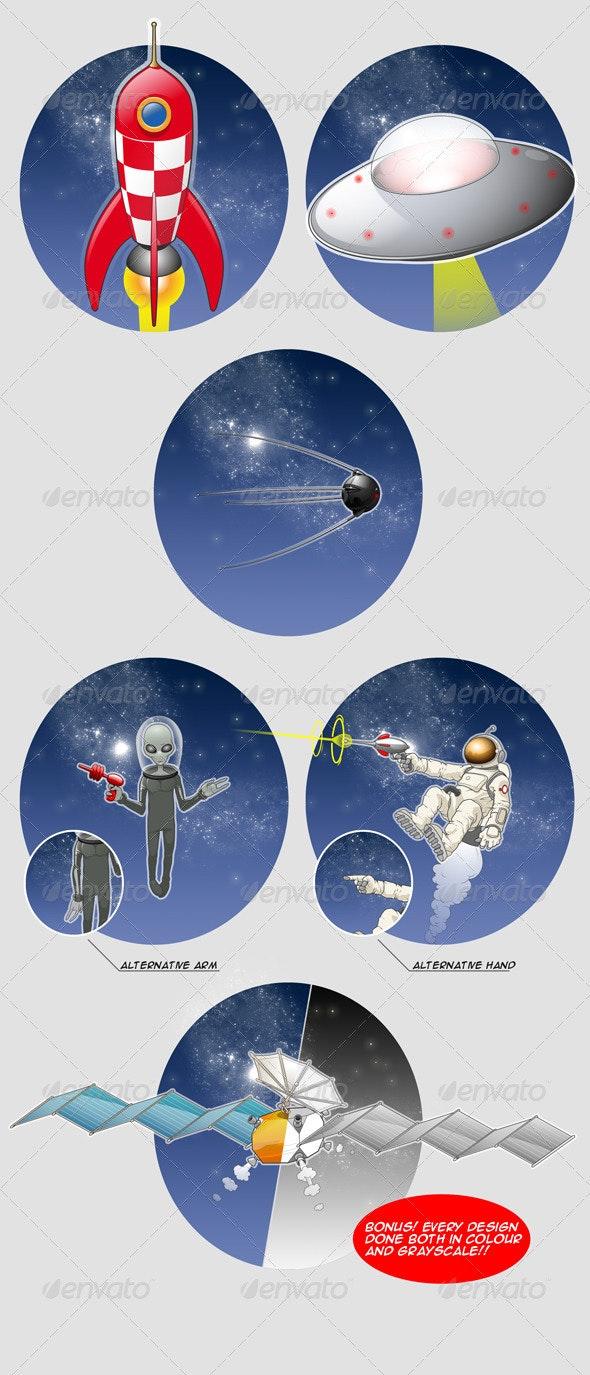 Retro Space elements - Conceptual Vectors