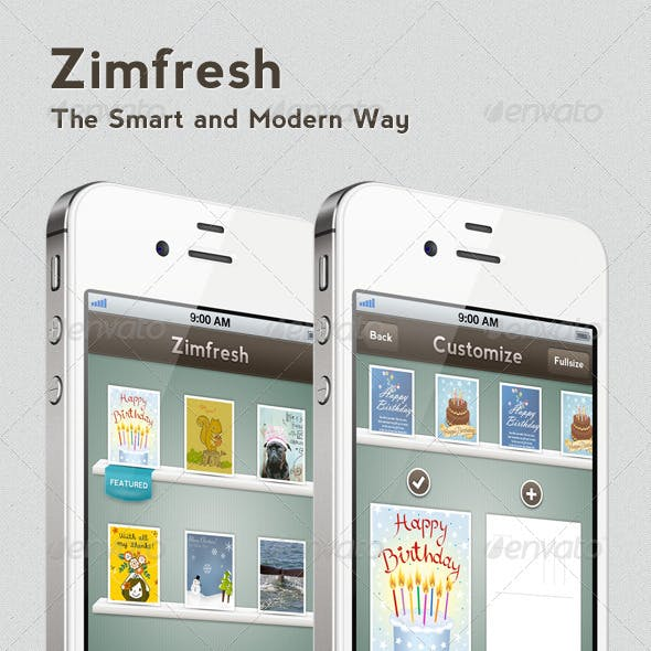 Zimfresh Greeting Card App