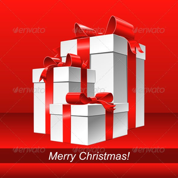 Vector Set Red and Blue Christmas Backgrounds with Gifts