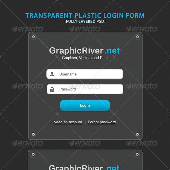 Transparent Plastic Login Form