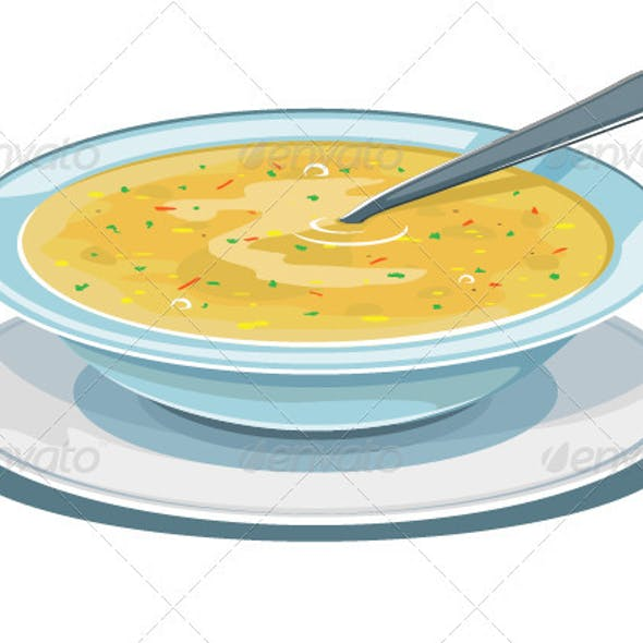 Dinner plate with soup