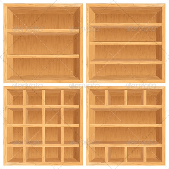 Vector Wooden Bookshelf - Man-made Objects Objects