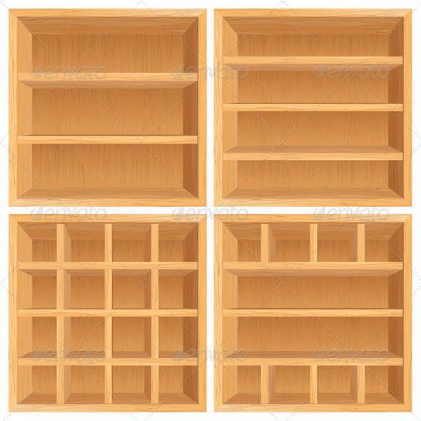 Vector Wooden Bookshelf