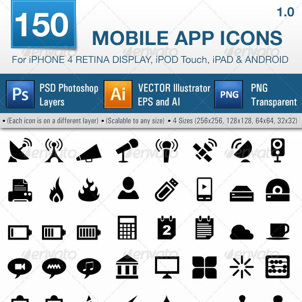 150 Mobile App Icons Pack 1