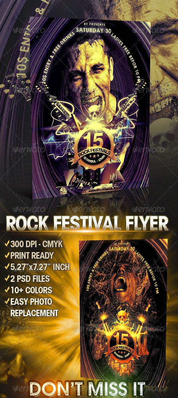 Rock Festival Flyer Template - Concerts Events