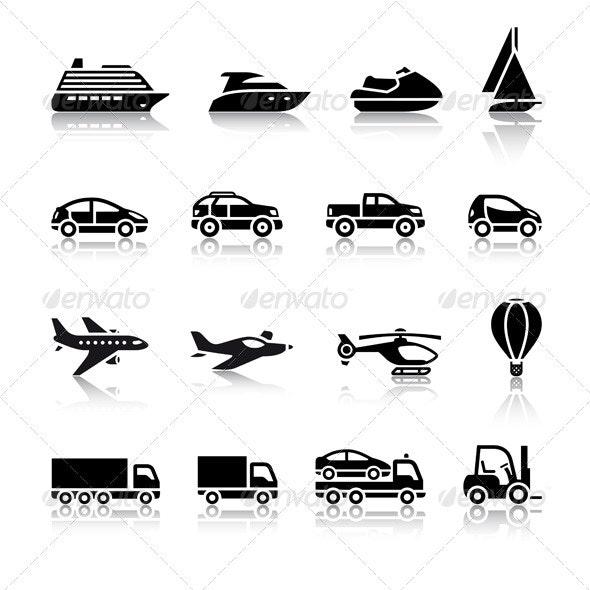 Set of Transport Signs - Web Elements Vectors