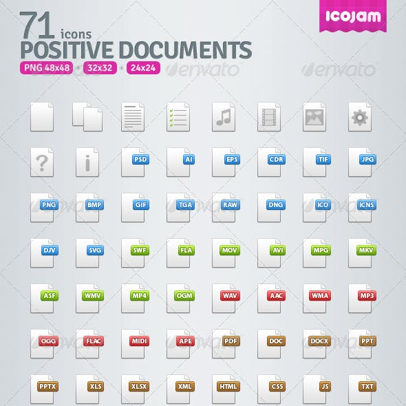 71 Positive Documents Icons
