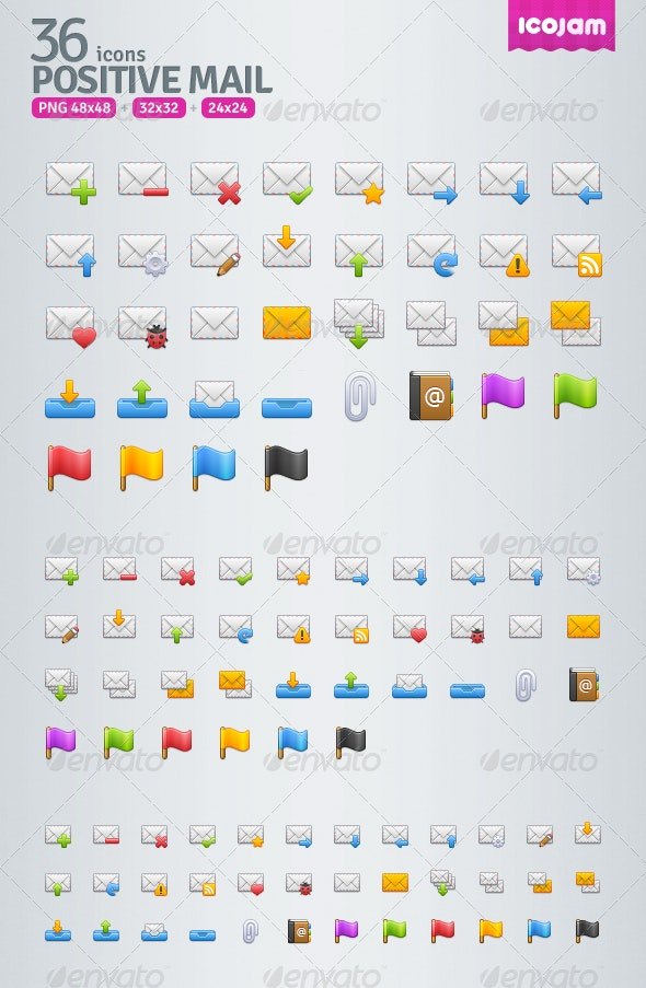 36 Positive Mail Icons - Web Icons