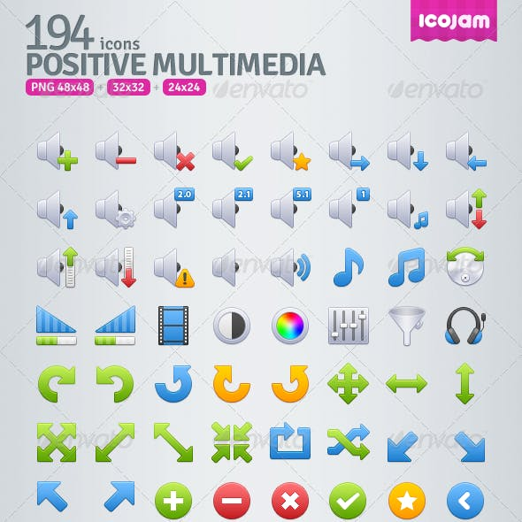 194 Positive Multimedia Icons