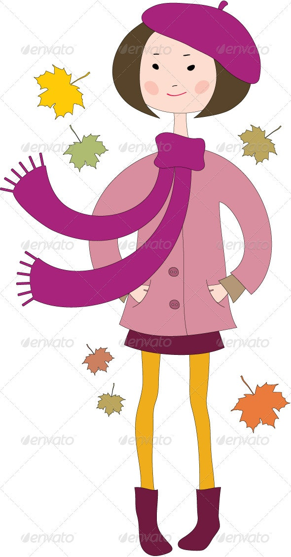 Hand Drawn Little Girl in a Coat with Scarf - People Characters