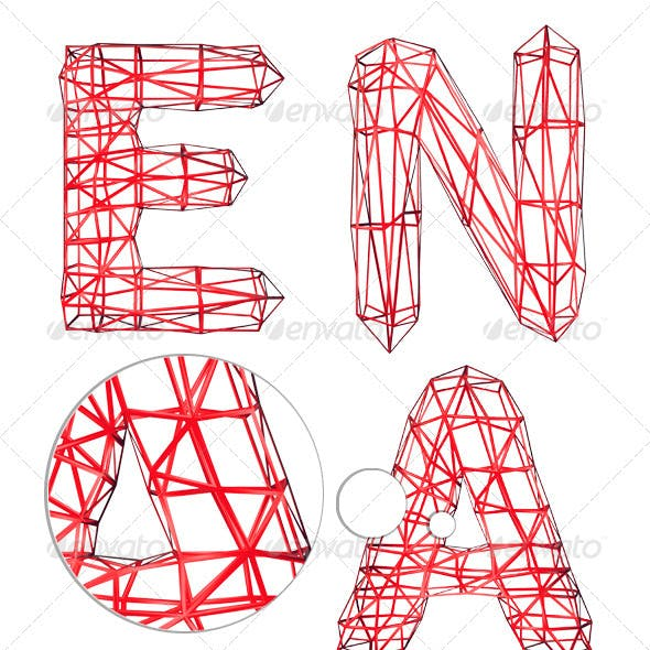 Wireframe letters alphabet