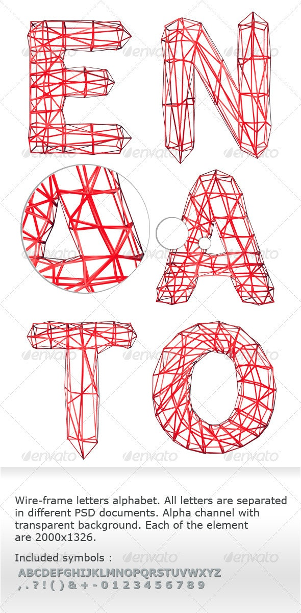 Wireframe letters alphabet - Text 3D Renders