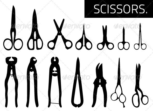 Silhouettes of Scissors - Man-made Objects Objects
