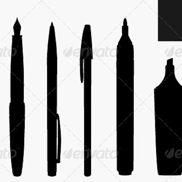 Set of Silhouette of Pens and Markers