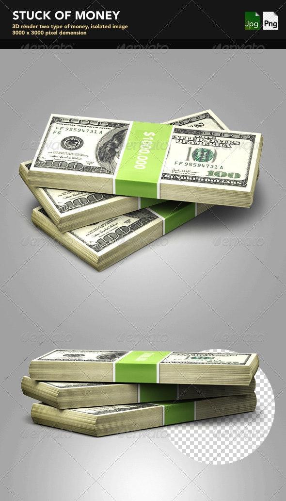Stuck of Money - Objects 3D Renders