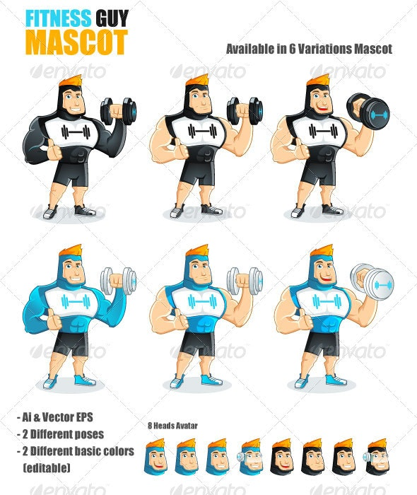 Fitness Guy Mascot - People Characters