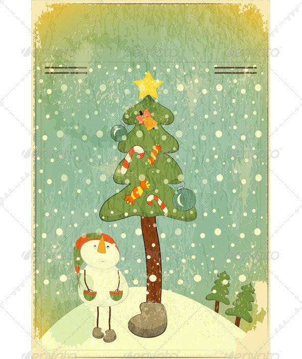 Snowman and Big Christmas Tree - Christmas Seasons/Holidays