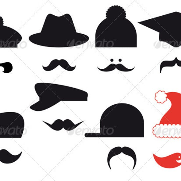 Mustache Set With Hats Vector