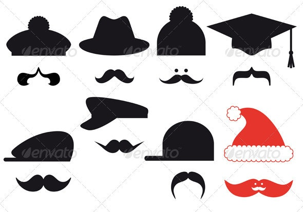 Mustache Set With Hats Vector - People Characters