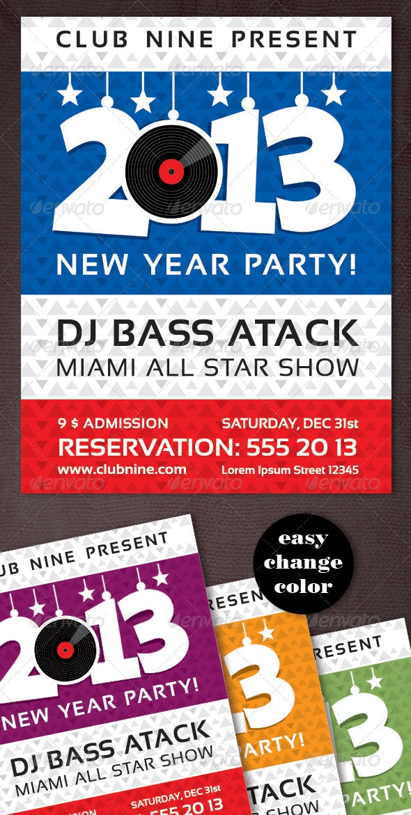 New Year Party Vinyl Flyer - Clubs & Parties Events