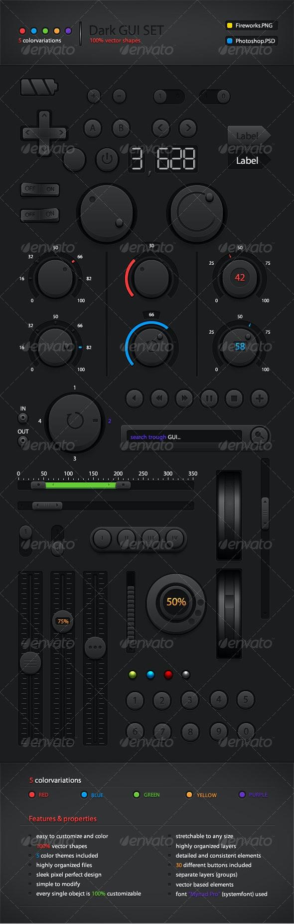 Dark GUI Set - User Interfaces Web Elements