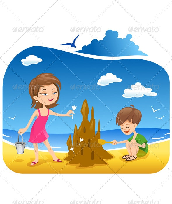 Boy and his mother at the Beach building sand cast - Characters Vectors
