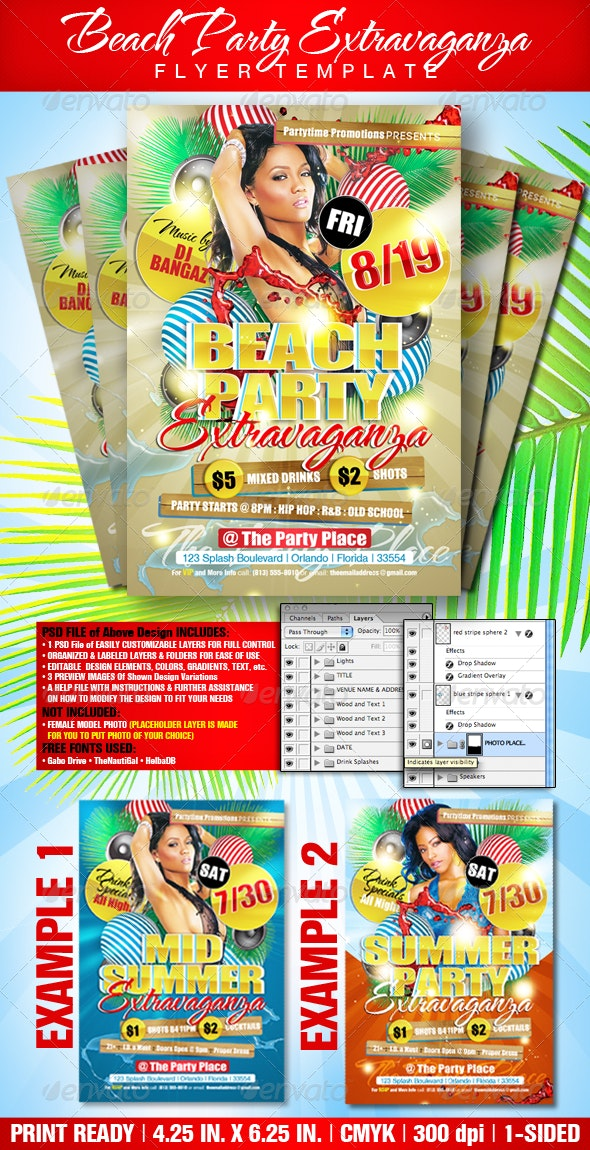 Beach Party Extravaganza Flyer Template - Clubs & Parties Events