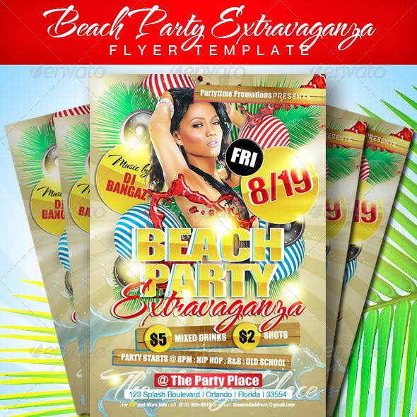 Beach Party Extravaganza Flyer Template