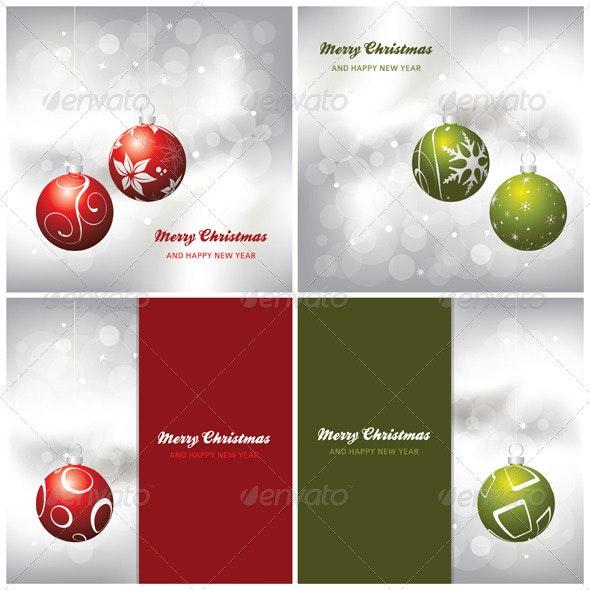 4 Vector Christmas Card Backgrounds - Christmas Seasons/Holidays