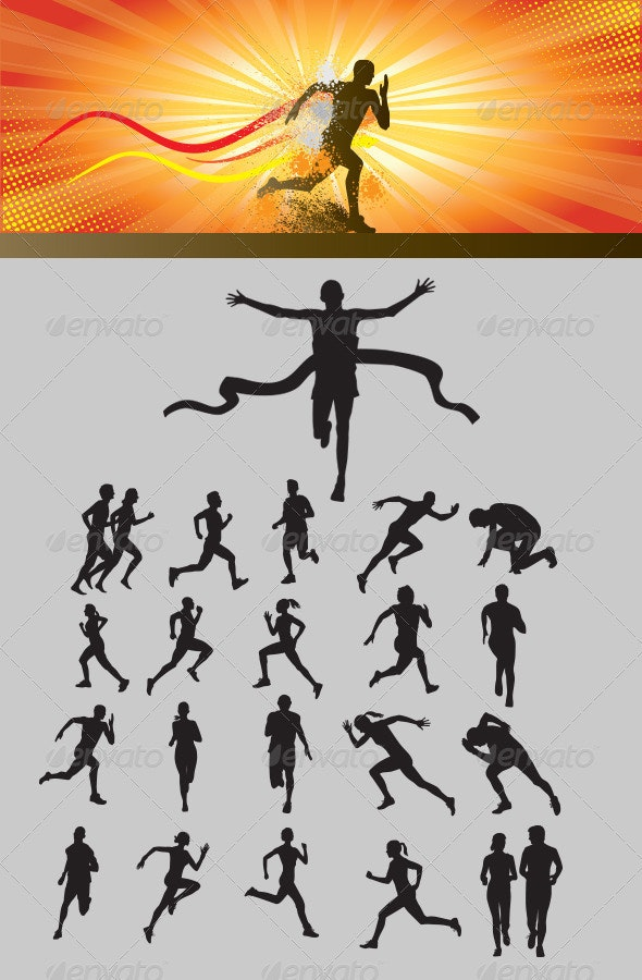 Running Silhouette - Characters Vectors