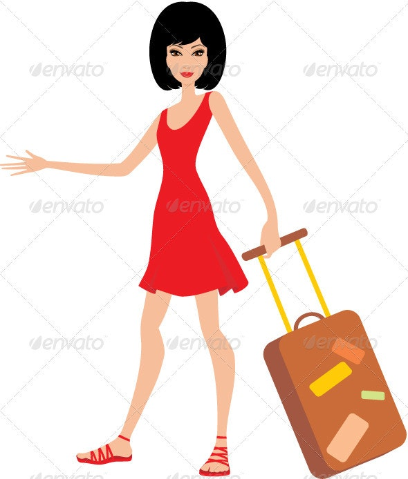 Woman with a suitcase in a red dress - People Characters