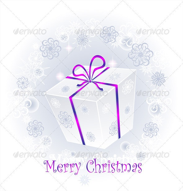 Gift Box with Bow on a Background of Snowflakes - Christmas Seasons/Holidays