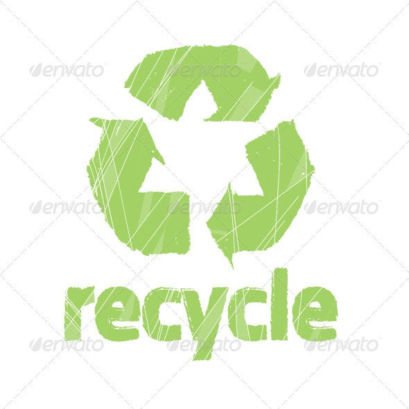 """Recycling Symbol with Word """"Recycle""""  - Decorative Symbols Decorative"""