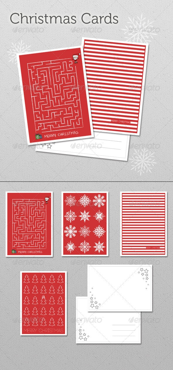 Christmas Cards Set 6 - Cards & Invites Print Templates
