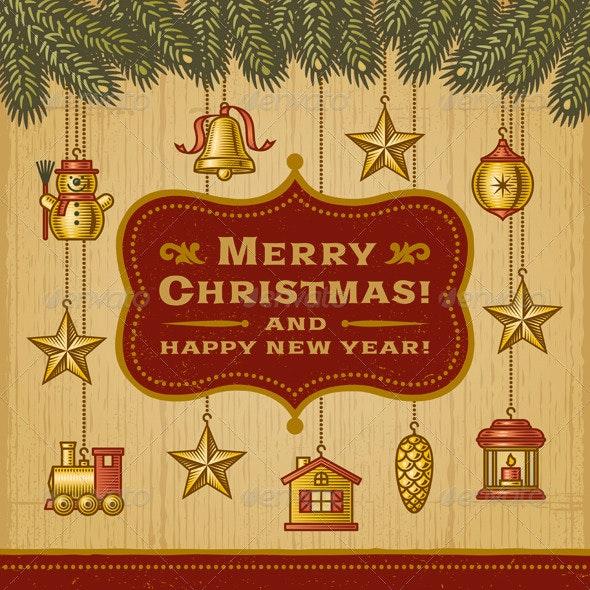 Vintage Christmas Card With Decorations - Christmas Seasons/Holidays