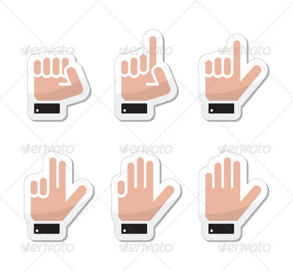 Counting Hand Signs as Labels - Vector Isolated - People Characters