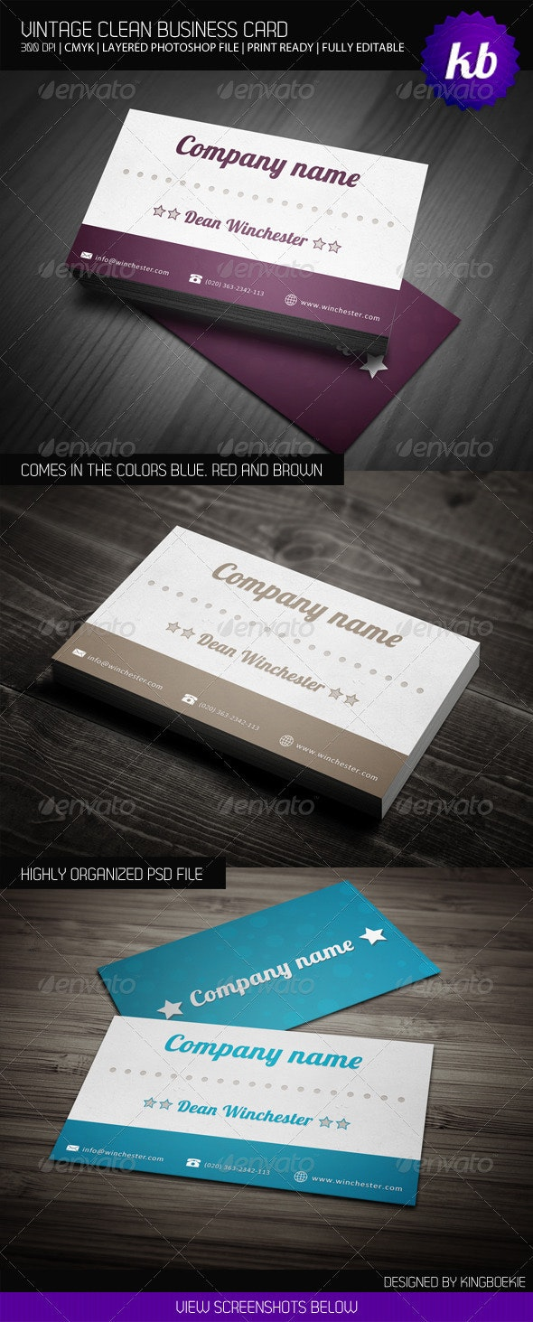 Vintage Clean Business Card - Retro/Vintage Business Cards